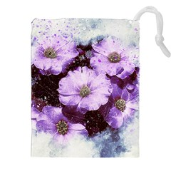 Flowers Purple Nature Art Abstract Drawstring Pouches (xxl) by Celenk