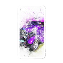 Car Old Car Art Abstract Apple Iphone 4 Case (white)