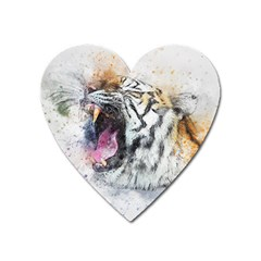 Tiger Roar Animal Art Abstract Heart Magnet by Celenk