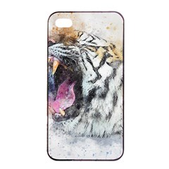 Tiger Roar Animal Art Abstract Apple Iphone 4/4s Seamless Case (black)