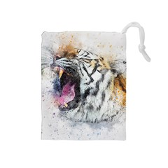 Tiger Roar Animal Art Abstract Drawstring Pouches (medium)  by Celenk