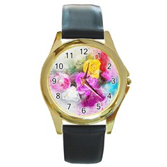 Flowers Bouquet Art Abstract Round Gold Metal Watch by Celenk