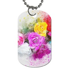 Flowers Bouquet Art Abstract Dog Tag (one Side) by Celenk