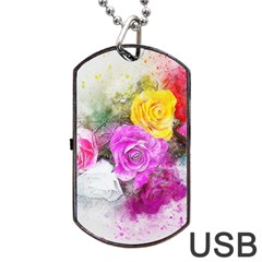 Flowers Bouquet Art Abstract Dog Tag Usb Flash (two Sides) by Celenk