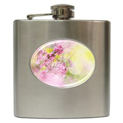 Flowers Pink Art Abstract Nature Hip Flask (6 Oz) by Celenk