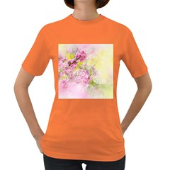 Flowers Pink Art Abstract Nature Women s Dark T Shirt
