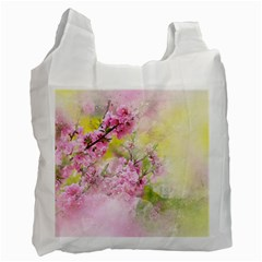Flowers Pink Art Abstract Nature Recycle Bag (one Side)