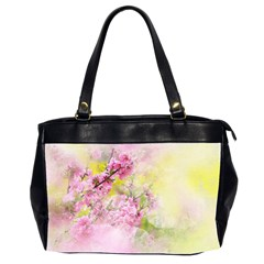 Flowers Pink Art Abstract Nature Office Handbags (2 Sides)