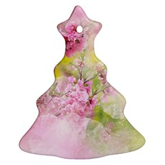 Flowers Pink Art Abstract Nature Ornament (christmas Tree)