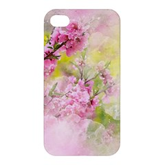 Flowers Pink Art Abstract Nature Apple Iphone 4/4s Premium Hardshell Case by Celenk