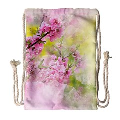 Flowers Pink Art Abstract Nature Drawstring Bag (large) by Celenk