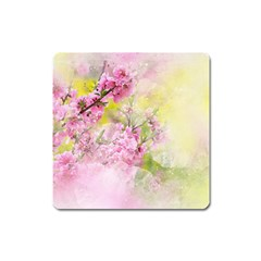Flowers Pink Art Abstract Nature Square Magnet