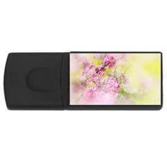 Flowers Pink Art Abstract Nature Rectangular Usb Flash Drive