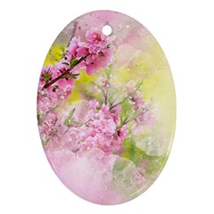 Flowers Pink Art Abstract Nature Oval Ornament (two Sides)