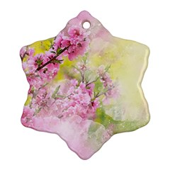 Flowers Pink Art Abstract Nature Ornament (snowflake)
