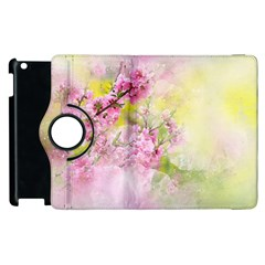 Flowers Pink Art Abstract Nature Apple Ipad 2 Flip 360 Case by Celenk