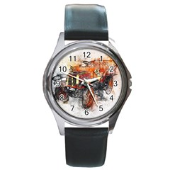 Car Old Car Art Abstract Round Metal Watch by Celenk