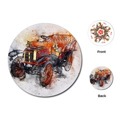 Car Old Car Art Abstract Playing Cards (round)
