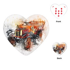 Car Old Car Art Abstract Playing Cards (heart)  by Celenk