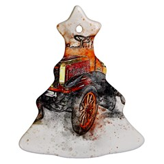 Car Old Car Art Abstract Christmas Tree Ornament (two Sides)