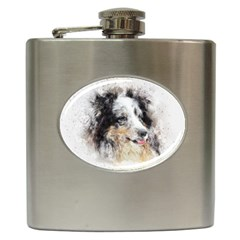 Dog Shetland Pet Art Abstract Hip Flask (6 Oz)