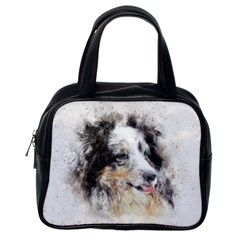 Dog Shetland Pet Art Abstract Classic Handbags (one Side)