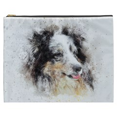 Dog Shetland Pet Art Abstract Cosmetic Bag (xxxl)