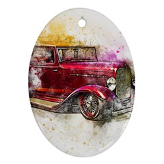 Car Old Car Art Abstract Oval Ornament (two Sides) by Celenk