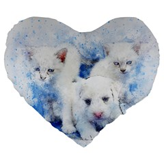 Dog Cats Pet Art Abstract Large 19  Premium Flano Heart Shape Cushions by Celenk
