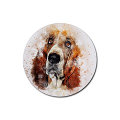 Dog Basset Pet Art Abstract Rubber Coaster (round)