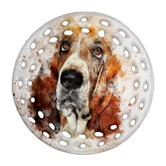 Dog Basset Pet Art Abstract Round Filigree Ornament (two Sides)