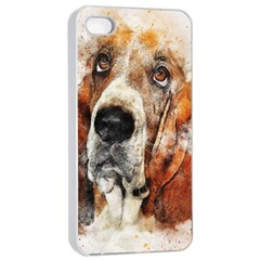 Dog Basset Pet Art Abstract Apple Iphone 4/4s Seamless Case (white) by Celenk