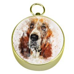 Dog Basset Pet Art Abstract Gold Compasses by Celenk