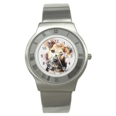 Dog Animal Pet Art Abstract Stainless Steel Watch