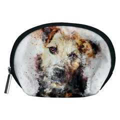Dog Animal Pet Art Abstract Accessory Pouches (medium)  by Celenk