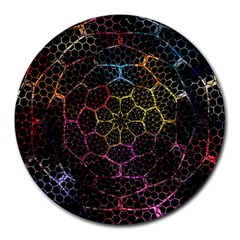 Background Grid Art Abstract Round Mousepads