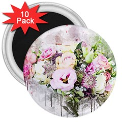 Flowers Bouquet Art Abstract 3  Magnets (10 Pack)