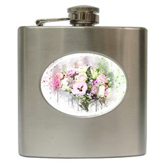 Flowers Bouquet Art Abstract Hip Flask (6 Oz) by Celenk