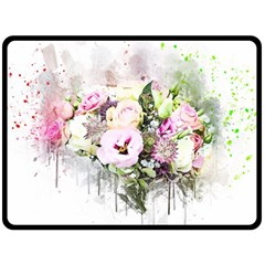 Flowers Bouquet Art Abstract Double Sided Fleece Blanket (large)  by Celenk
