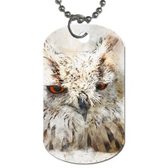 Bird Owl Animal Art Abstract Dog Tag (two Sides)