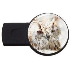 Bird Owl Animal Art Abstract Usb Flash Drive Round (2 Gb)