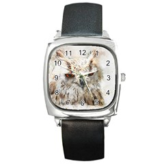 Bird Owl Animal Art Abstract Square Metal Watch