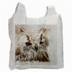 Bird Owl Animal Art Abstract Recycle Bag (two Side)  by Celenk
