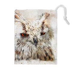 Bird Owl Animal Art Abstract Drawstring Pouches (extra Large)