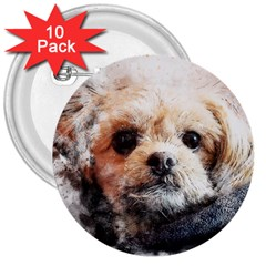 Dog Animal Pet Art Abstract 3  Buttons (10 Pack)  by Celenk