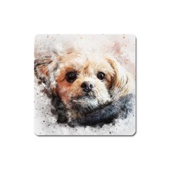 Dog Animal Pet Art Abstract Square Magnet