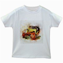 Car Old Car Fart Abstract Kids White T Shirts