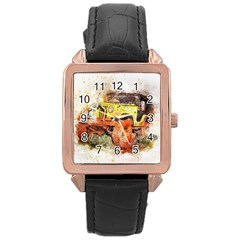Car Old Car Fart Abstract Rose Gold Leather Watch  by Celenk