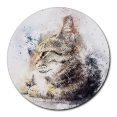 Cat Animal Art Abstract Watercolor Round Mousepads by Celenk