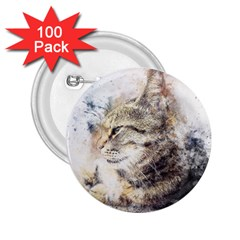 Cat Animal Art Abstract Watercolor 2 25  Buttons (100 Pack)